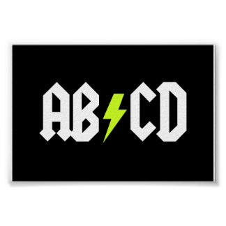 ABCD Yellow Bolt Poster
