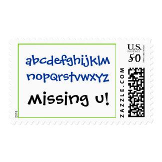 abcdefghijklmnopqrstvwxyz, missing u! postage