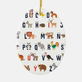 ABCs animal - alfabeto Adorno Navideño Ovalado De Cerámica