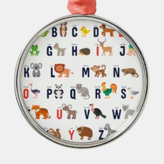 ABCs animal - alfabeto Adorno Navideño Redondo De Metal