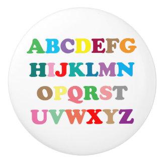 ABC's colorful lettering Ceramic Knob