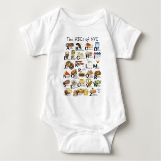 ABCs of NYC Iconic New York City Foods Alphabet Baby Bodysuit