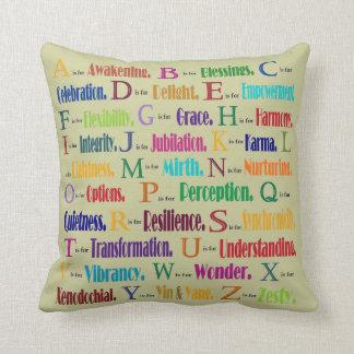 abc's of positivity throw pillow