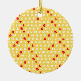 Abc's yellow ceramic ornament