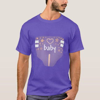 ABDL diaper front with back text/ Adult Baby Tee