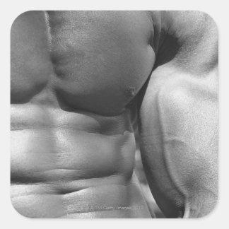 Abdomen y bíceps definidos pegatina cuadrada
