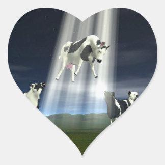Abducción de la vaca pegatina en forma de corazón