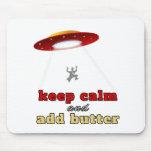 Abducción del UFO: Mantenga tranquilo y añada la m Tapetes De Ratón
