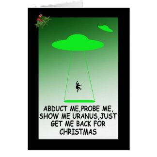 Abducción extranjera hilarante tarjeta de felicitación