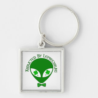 Abducted By Alien Leprechauns Silver-Colored Square Keychain