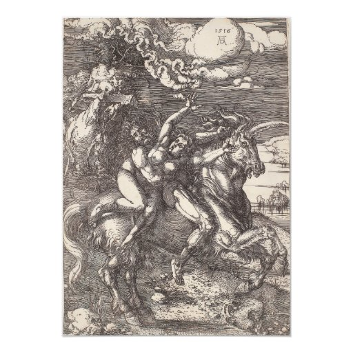 Abduction of Proserpine on a Unicorn by Durer 5x7 Paper Invitation Card
