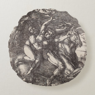 Abduction of Proserpine on a Unicorn by Durer Round Pillow