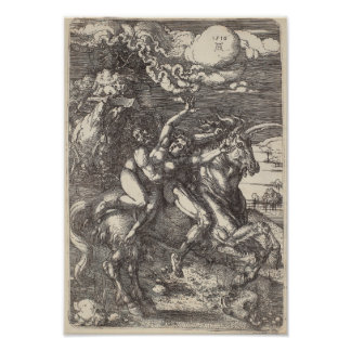 Abduction of Proserpine on a Unicorn by Durer Poster
