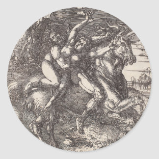 Abduction of Proserpine on a Unicorn by Durer Round Stickers