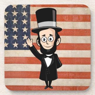 Abe honesto Lincoln y vieja gloria que agitan orgu Posavasos De Bebida