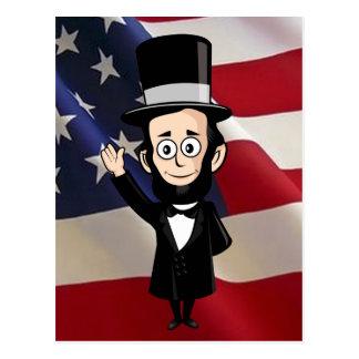 Abe honesto y estrellas americanas y el agitar de postal