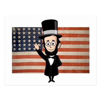Abe honesto y estrellas americanas y el agitar de  tarjeta postal