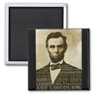 Abe Lincoln 2 Inch Square Magnet