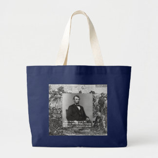 """Abe Lincoln """"Destroy Enemies"""" Wisdom Quote Gifts Large Tote Bag"""
