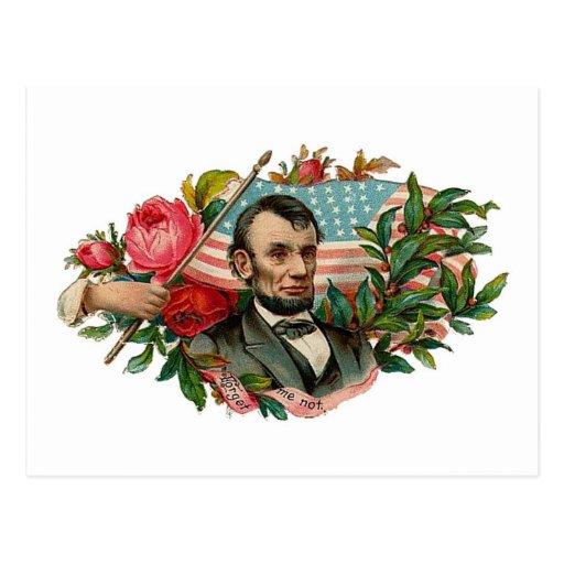 Abe Lincoln Garland Flag Postcard