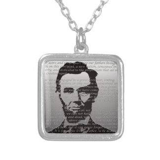 Abe Lincoln Gettysburg Address Silver Plated Necklace