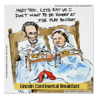 Abe Lincoln & Mary Todd In Bed Funny Poster