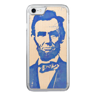 Abe Lincoln Pop Art Portrait in Blue Carved iPhone 7 Case