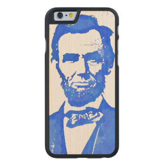 Abe Lincoln Pop Art Portrait in Blue Carved Maple iPhone 6 Case