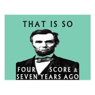 Abe Lincoln que es tan cuatro cuentas y siete años Tarjetas Postales
