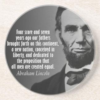 Abe Lincoln Quotation - Gettysburg Address Sandstone Coaster