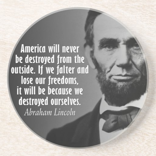 Abe Lincoln Quotation on Freedom Drink Coaster