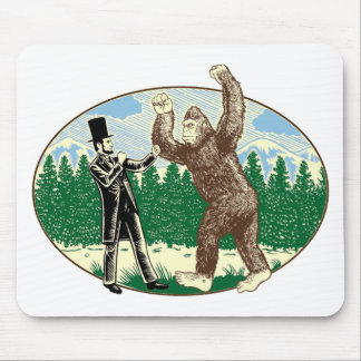 ABE LINCOLN: SASQUATCH HUNTER - Funny Bigfoot Logo Mouse Pads