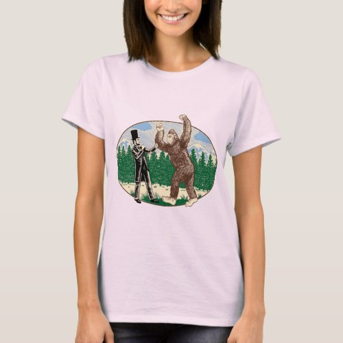 ABE LINCOLN SASQUATCH HUNTER _ Funny Bigfoot Logo T_Shirt
