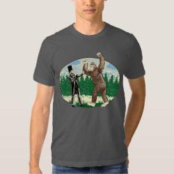 ABE LINCOLN: SASQUATCH HUNTER - Funny Bigfoot Logo T Shirt