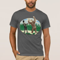 ABE LINCOLN: SASQUATCH HUNTER - Funny Bigfoot Logo T-Shirt