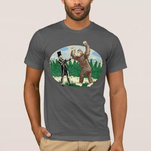 ABE LINCOLN SASQUATCH HUNTER _ Funny Bigfoot Logo T_Shirt
