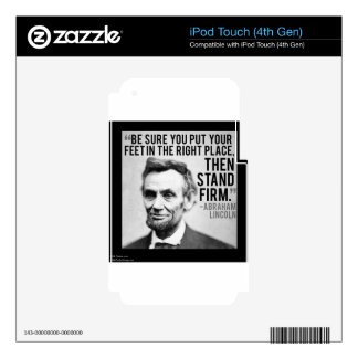 """Abe Lincoln & """"Stand Firm"""" Quote iPod Touch 4G Decal"""
