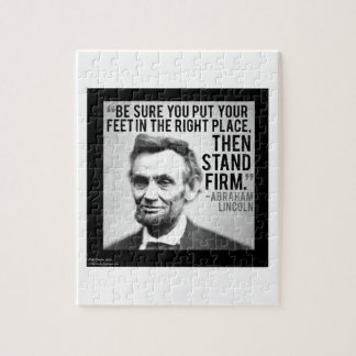 """Abe Lincoln & """"Stand Firm"""" Quote Jigsaw Puzzle"""