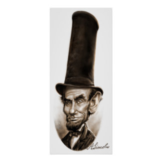 Abe Lincoln Stovepipe Hat Caricature Poster