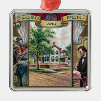Abe Lincoln's Springfield Home Vintage Metal Ornament