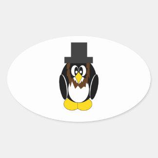 Abe Pietro the Penguin Oval Sticker