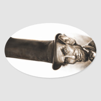 Abe Stovepipe Hat Oval Sticker