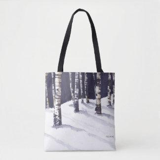 Abedules blancos en invierno bolsa de tela