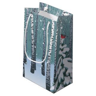 Abedules en el bosque del invierno bolsa de regalo pequeña