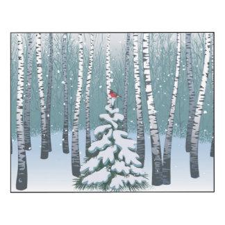 Abedules en el bosque del invierno impresión en madera