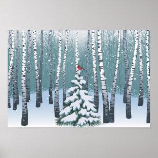 Abedules en el bosque del invierno póster