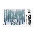 Abedules en el bosque del invierno sellos postales