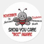 Abeja 1,1 del mes de la conciencia de la diabetes pegatina redonda