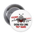 Abeja 1,1 del mes de la conciencia de la diabetes pins