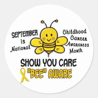 Abeja 1,1 del mes de la conciencia del cáncer de etiquetas redondas